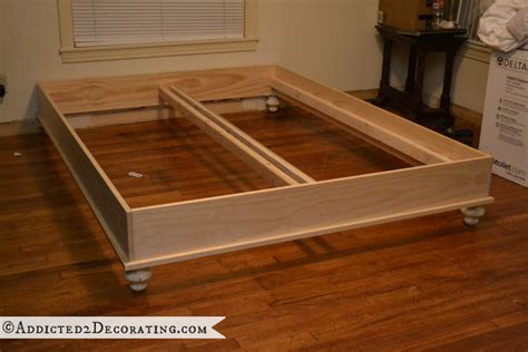 diy stained wood raised platform bed frame part