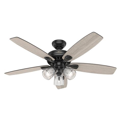Black Ceiling Fans With Lights Highbury Ii 52 In Led Indoor Matte Black Ceiling Fan With Light Kit 52028 The Home Depot