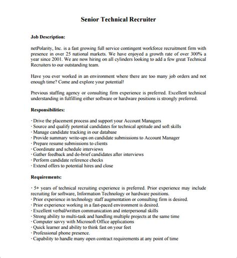 recruiter description for resume recruiter description template 10 free word pdf format free premium templates
