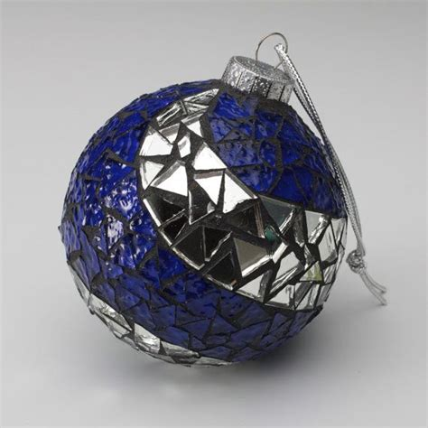blue and silver mosaic ornament art glass handmade ooak