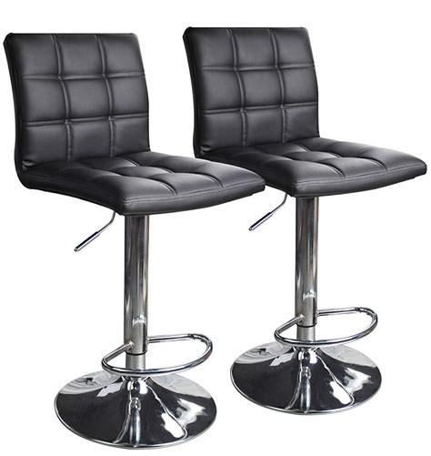Black Counter Height Swivel Bar Stools by Modern Square Leather Adjustable Bar Stools With Back Set