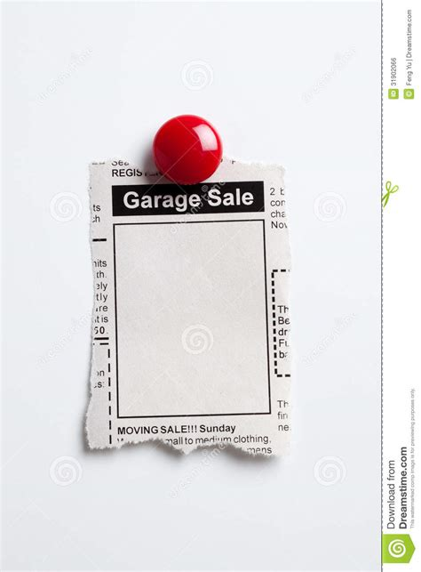 Garage Sale Classified Ad by Garage Sale Royalty Free Stock Image Image 31902066