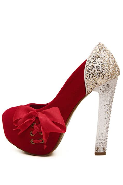 red faux suede side lace  clear chunky heels