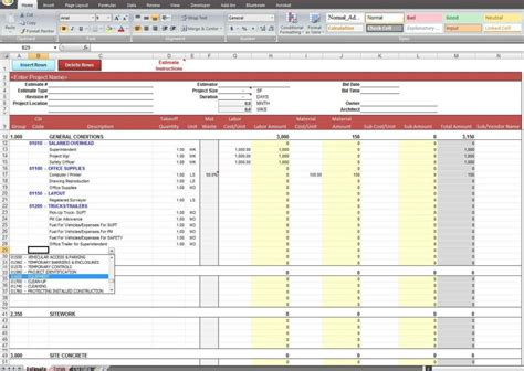 cost estimate spreadsheet template costing spreadsheet