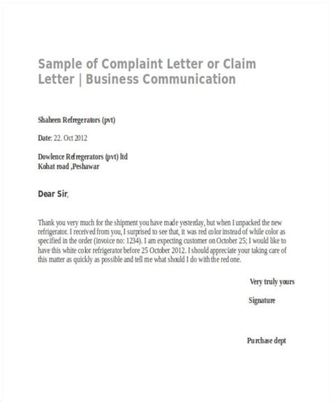 business letter sle complaint sle of formal communication letter 30 complaint letter