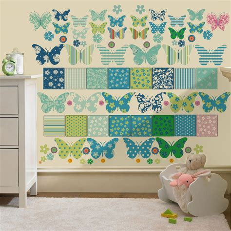 butterfly wall stickers for rooms childrens butterfly patchwork wall stickers decals nursery