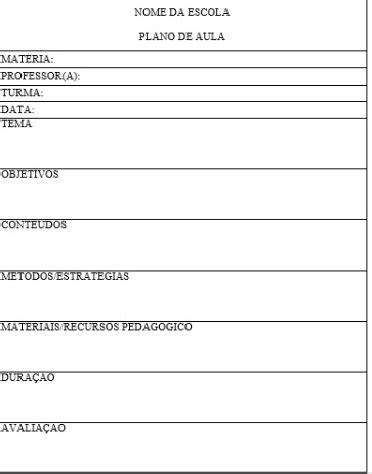 MODELO DE PLANO DE AULA SIMPLES ~ Profa. Míriam Navarro