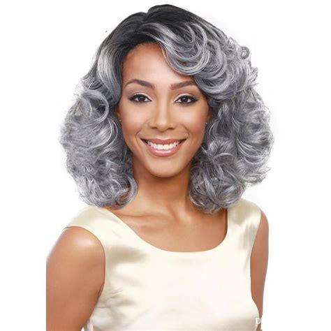 gray hair pieces for american grandmother grey black wig short curly synthetic wigs