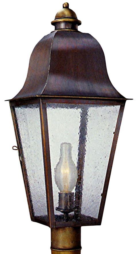 copper l post lantern keene electric copper lantern garden post light head