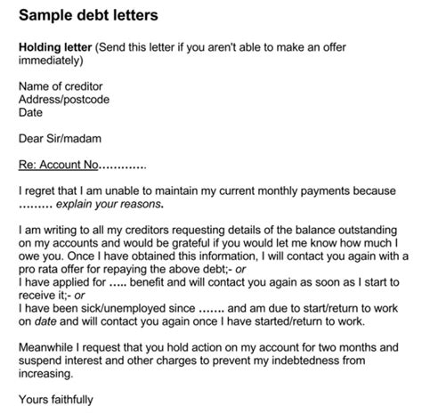 sample debt collection letter templates  debtors