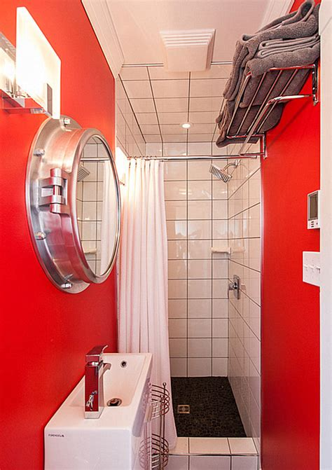 small red bathroom ideas small red bathroom with overhead storage decoist