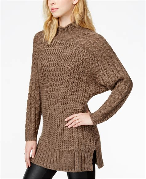 cable knit tunic sweater lyst guess cable knit tunic sweater