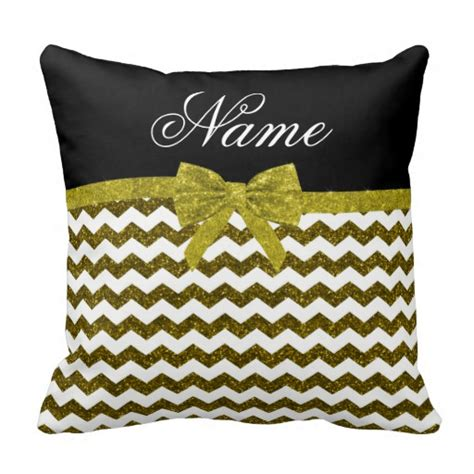 personalized name gold glitter chevrons bow pillow zazzle