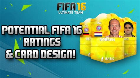 fifa 11 ultimate team card template fifa 16 potential player ratings robben boateng