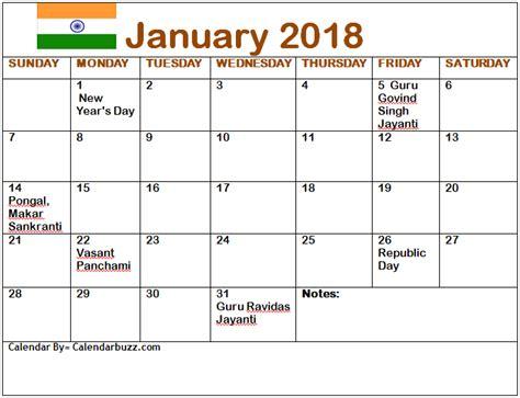 Calendar 2018 Vasant Panchami January 2018 Calendar With Holidays In Usa Uk Canada