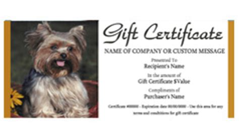 pet grooming gift certificate templates easy   gift