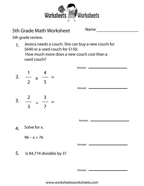 Math Quiz Worksheet by Fifth Grade Math Practice Worksheet Free Printable