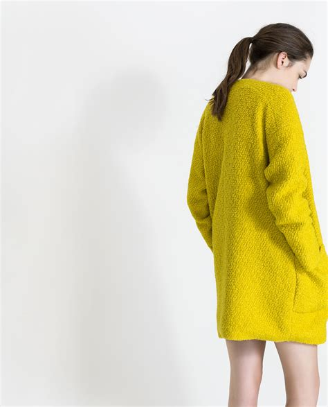 zara wool coat with center zip in yellow lyst