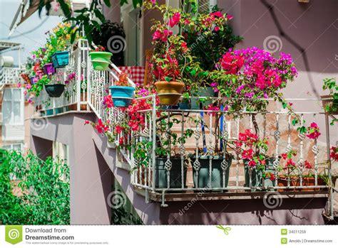 fiori sul terrazzo fiori sul balcone immagini stock libere da diritti