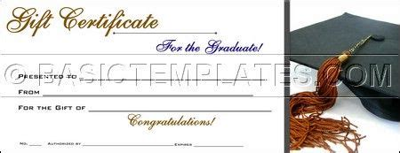 Graduation Gift Card Template by Graduation Gift Certificate Gift Ideas