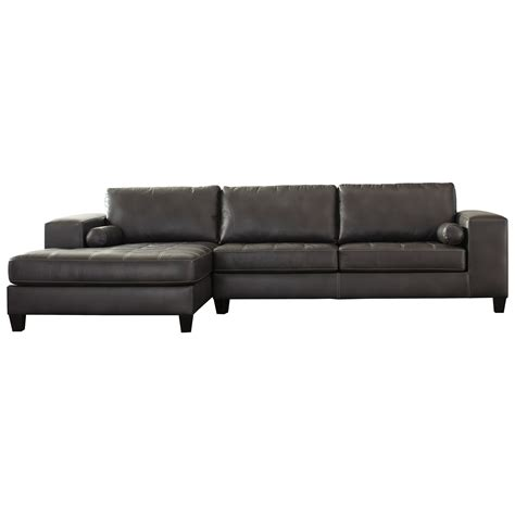 faux leather sectional sofa with chaise signature design by nokomis contemporary faux