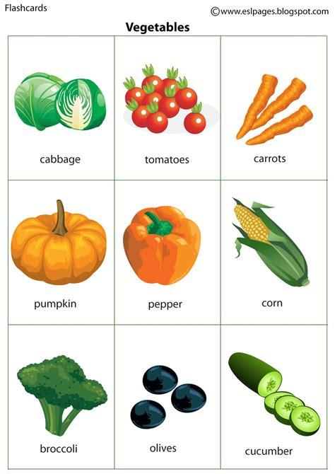 vegetable flashcards printable esl pages vegetables