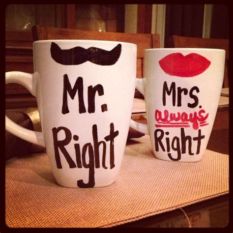 his and hers diy sharpie mugs mr right and mrs always