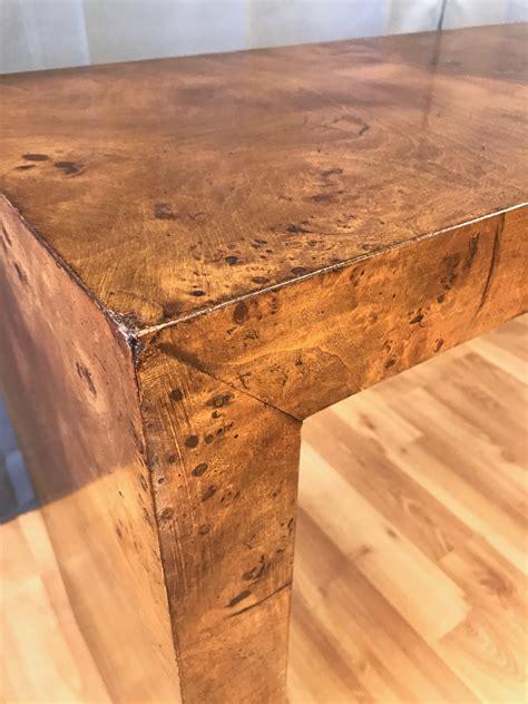 burl wood console table milo baughman for thayer coggin burl wood console table
