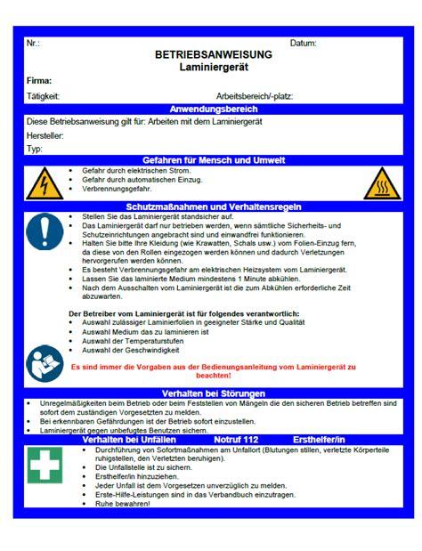 Muster Arbeitsanweisung Vorlagen Betriebsanweisung Laminierger 228 T Sofort