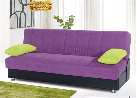 Leons Sofa Bed Sofa Bed Convertible In Purple Microfiber By
