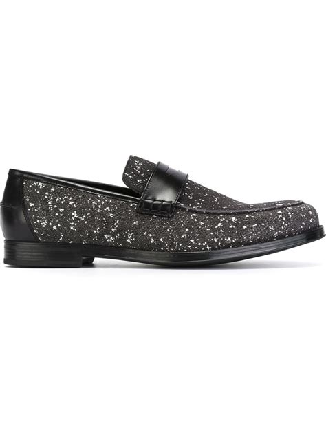 jimmy choo loafers jimmy choo darblay loafers in gray for lyst