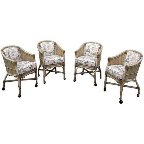 rolling dining room chairs vintage mcguire rattan rolling game chairs set of four