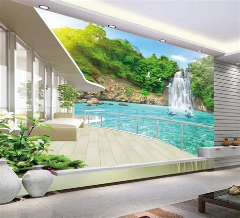 scenery wallpaper wallpaper for home decoration india aliexpress com buy 3d wallpaper for room balcony
