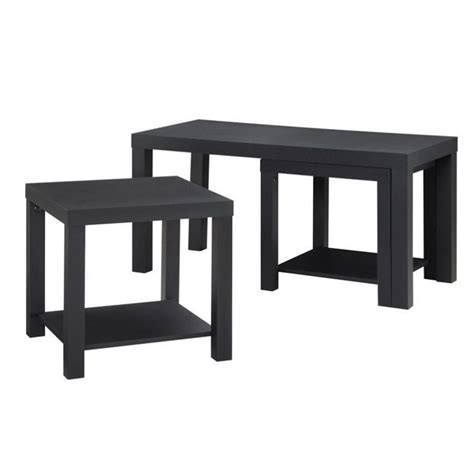 accent table and chairs set 3 piece coffee and end table set in black 5082096