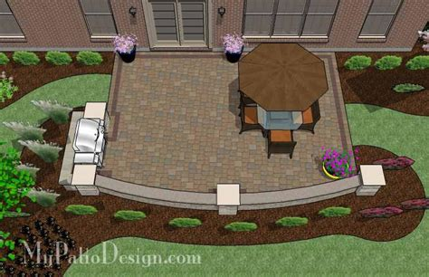 rectangle patio design with circle pit area 395 sq