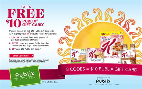 Amazon Gift Card Publix - free 10 publix gift card wyb select kelloggs special k products who said nothing in
