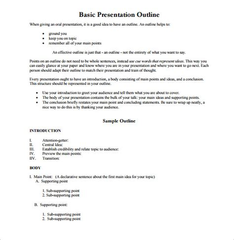 Topic Presentation Outline by Presentation Outline Format Pics