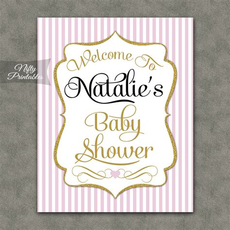 Baby Shower Welcome by Pink Gold Baby Shower Welcome Sign Nifty Printables