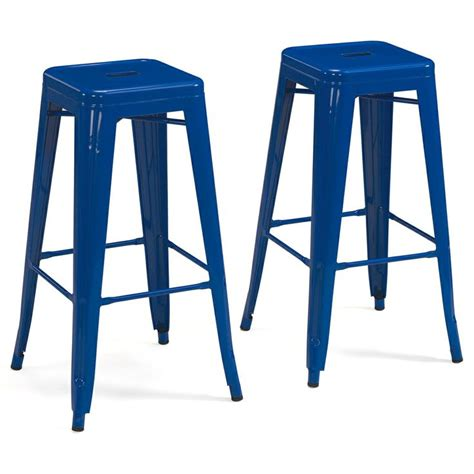 best deals on bar stools tabouret 30 inch baja blue metal bar stools set of 2