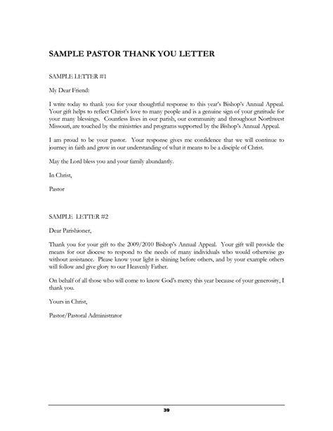 thank you letter to our pastor best photos of sle gift thank you letters appreciation