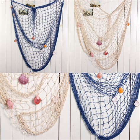 nautical fishing net seaside wall sea shells