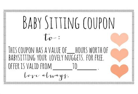 babysitting gift voucher template baby sitting coupon template 10 free printable pdf