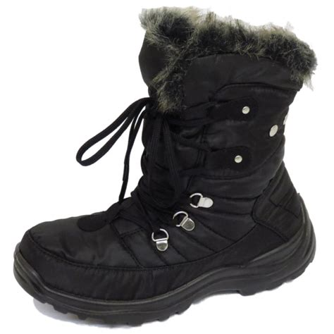 warm boots womens warm lace up black winter snow ski ankle boots