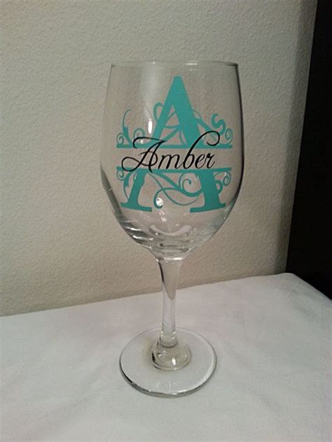 monogram barware personalized wine glass choose your vinyl colors perfect gift for any occasion