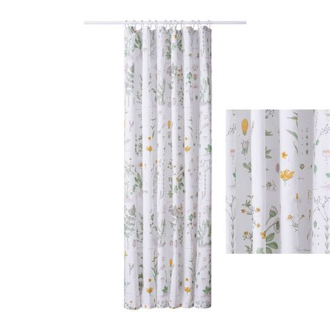 Ikea Textiles Curtains Decorating Ikea Strandkrypa Fabric Shower Curtain Botanical Garden Print Floral Plants Flowers White