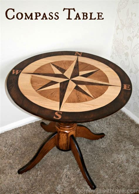 Custom Built Compass Table in American Oak and Java Gel