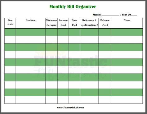 printable monthly bill organizer funtastic life