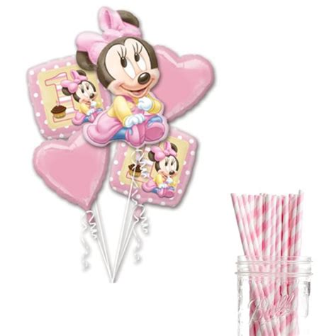 Balon Minnie Mouse Cupcakes by Dress My Cupcake Decoration Kit With Straws And