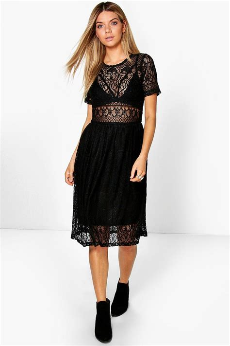 Lenka Dress boohoo lenka lace midi dress in black lyst