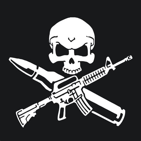 rifle skull bullet gun wall stickers funny control